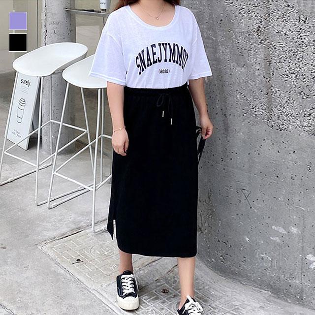 カジュアル2点セット☆英字Tシャツ×ウエスト紐スカートSET★