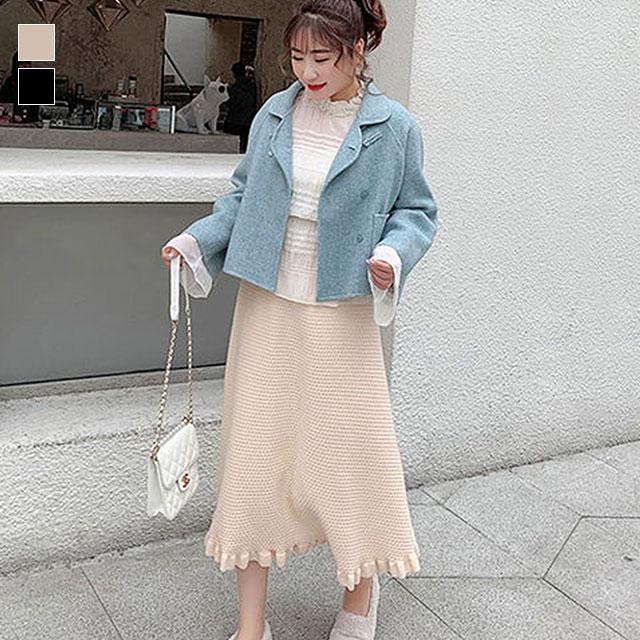 裾フリルが女性らしい、ウエストゴムニットスカート★