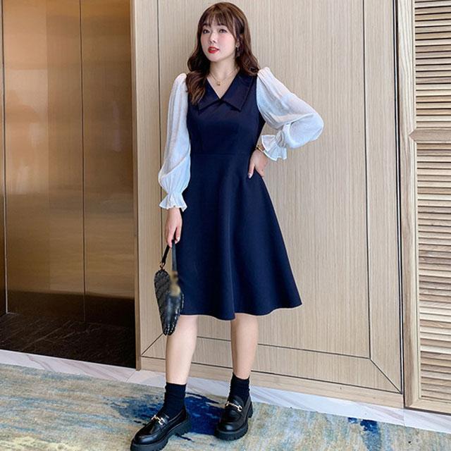 きちんと女子スタイル☆襟付き袖切替ワンピース★