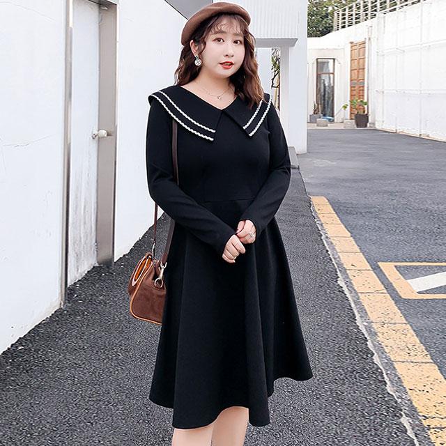 存在感ある大きめ襟のフレアワンピース★