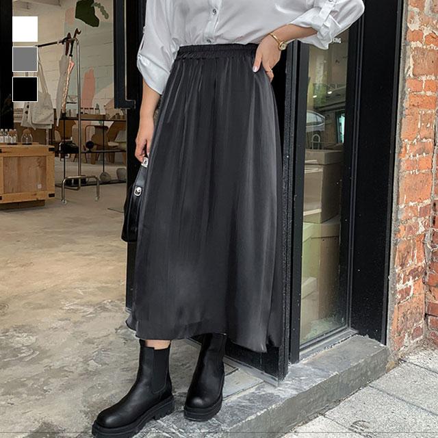 光沢感が魅力!ウエストゴムのロングフレアスカート★