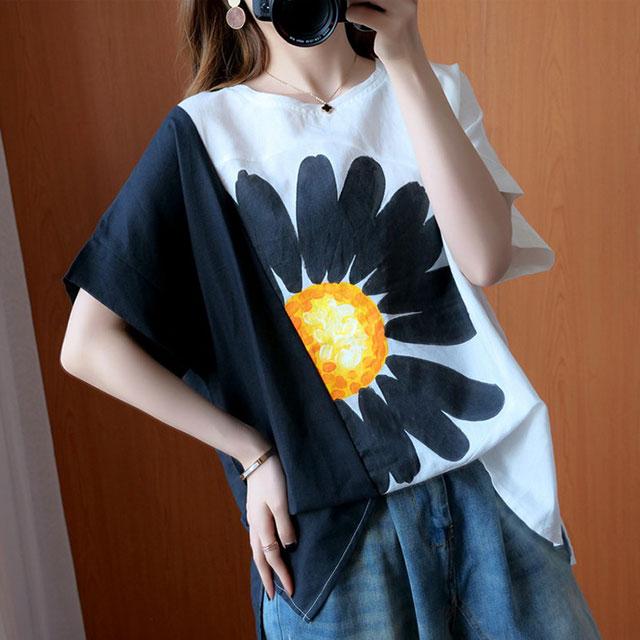 BIGフラワープリントTシャツ☆ゆったり着られる《ミニョンイージーライフ》★