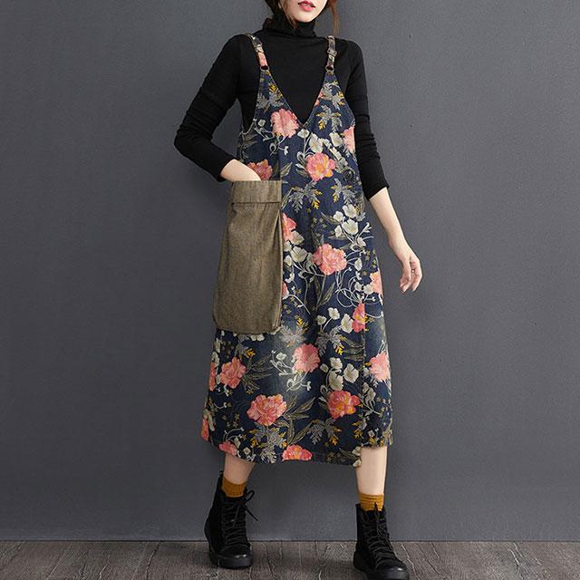 BIGポケット付花柄サロペットワンピース☆ゆったり着られる《ミニョンイージーライフ》★