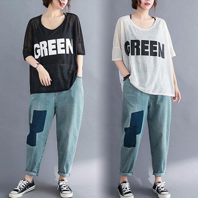 GREENロゴ入り透け感トップス☆ゆったり着られる《ミニョンイージーライフ》★