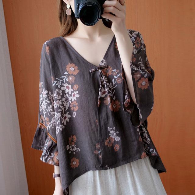 レトロ花柄ワイド袖ブラウス☆ゆったり着られる《ミニョンイージーライフ》★
