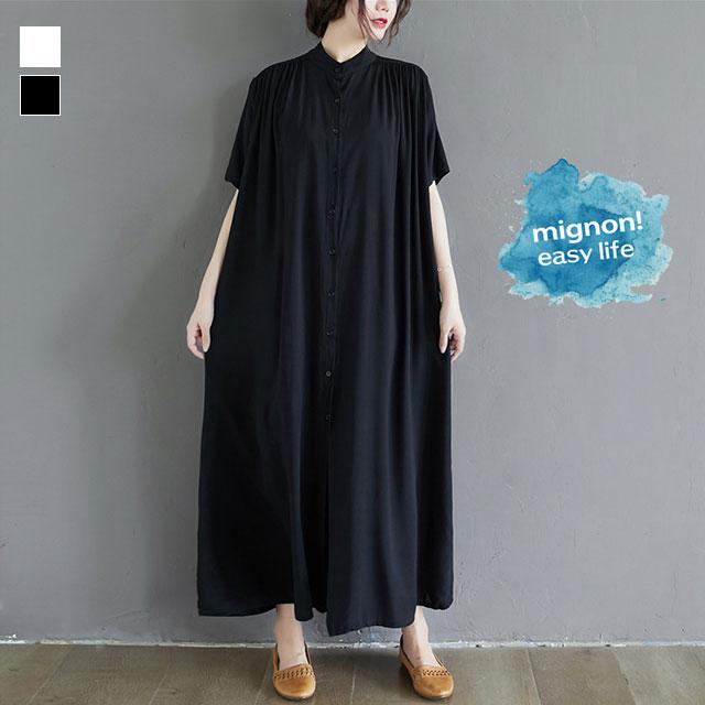 透明感ロングシャツワンピース☆ゆったり着られる《ミニョンイージーライフ》★