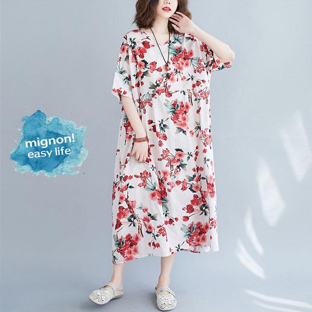 可憐な花柄ロングワンピ☆ゆったり着られる《ミニョンイージーライフ》★