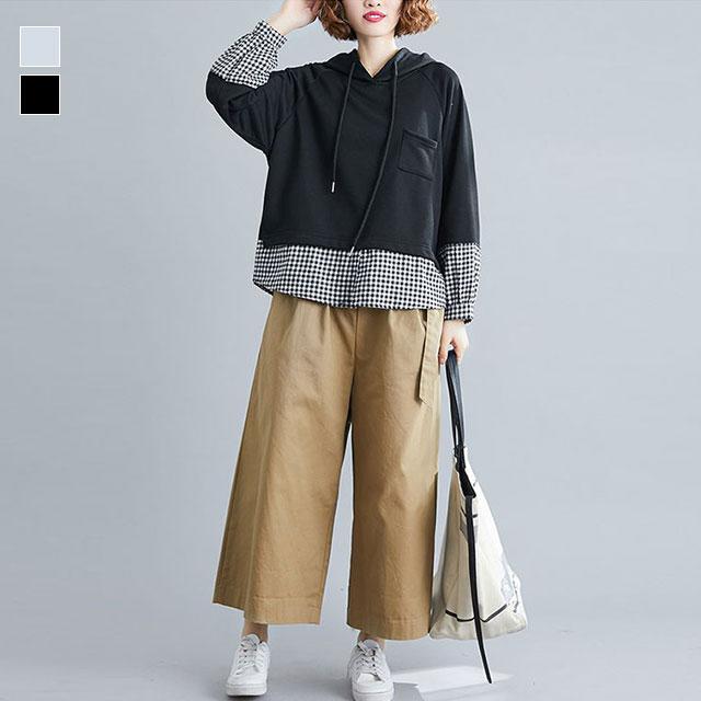 裾チェックのプルオーバーパーカー☆ゆったり着られる《ミニョンイージーライフ》★