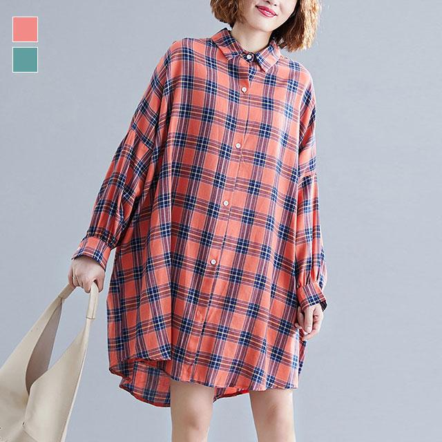 チェック柄のシャツワンピース☆ゆったり着られる《ミニョンイージーライフ》★