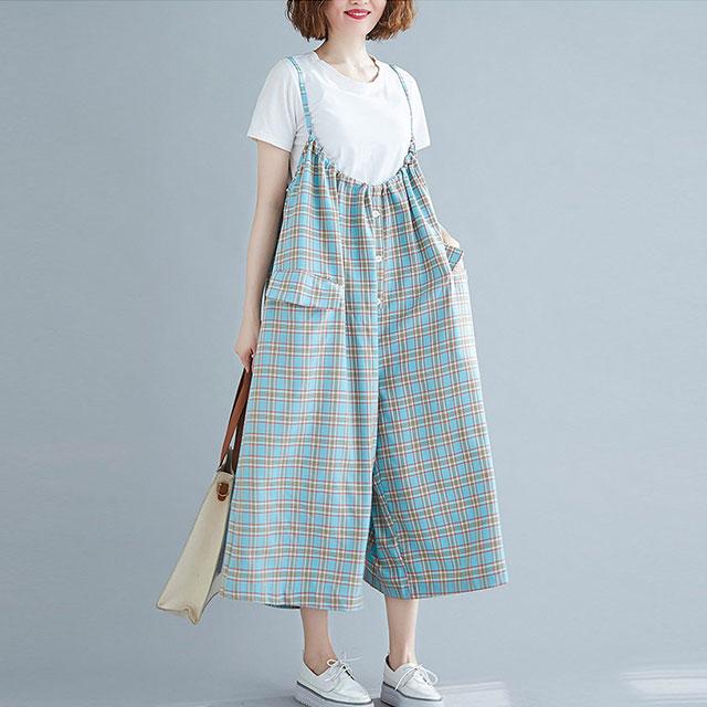 チェック柄サロペットパンツ☆ゆったり着られる《ミニョンイージーライフ》★